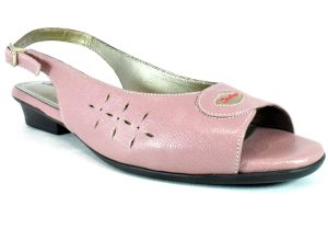 Peeptoe sandals with Backstrap for Women in genuine lambskin.