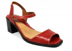 Unicolor High Heel Sandals with Ankle Strap in genuine leather